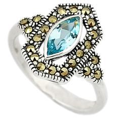 Natural blue topaz swiss marcasite 925 sterling silver ring size 6.5 c26142
