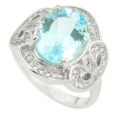 5.48cts natural blue topaz topaz 925 sterling silver ring size 5.5 c17985