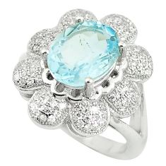 5.29cts natural blue topaz topaz 925 sterling silver ring jewelry size 6 c17979