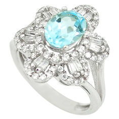 4.04cts natural blue topaz topaz 925 sterling silver ring jewelry size 6 c17963