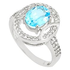 5.87cts natural blue topaz white topaz 925 sterling silver ring size 8.5 c17981