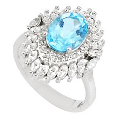 6.58cts natural blue topaz white topaz 925 sterling silver ring size 6.5 c17965