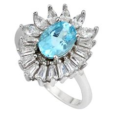 Natural blue topaz white topaz 925 sterling silver ring jewelry size 7 c17978