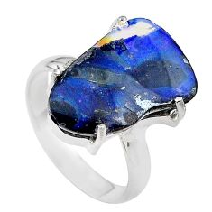 13.87cts natural boulder opal 925 sterling silver solitaire ring size 9 t24209