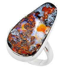 14.01cts natural boulder opal 925 sterling silver solitaire ring size 7.5 t24210