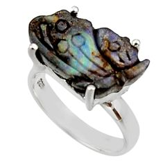 11.04cts natural boulder opal carving 925 silver solitaire ring size 6.5 r30138