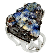 14.47cts natural boulder opal carving 925 silver solitaire ring size 7.5 r30147