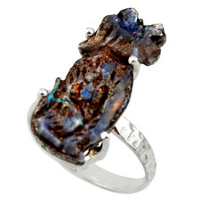 11.57cts natural boulder opal carving 925 silver solitaire ring size 7.5 r30166