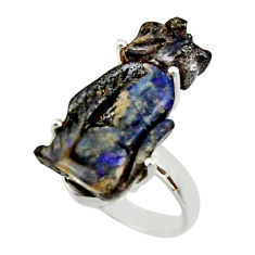 13.09cts natural boulder opal carving 925 silver solitaire ring size 7.5 r30178