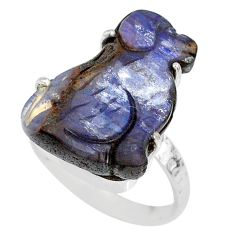 14.69cts natural boulder opal carving 925 silver solitaire ring size 8.5 r79611