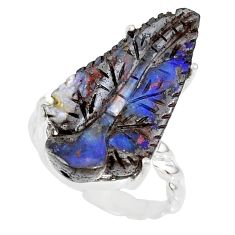 16.25cts natural boulder opal carving 925 silver solitaire ring size 8.5 r79614