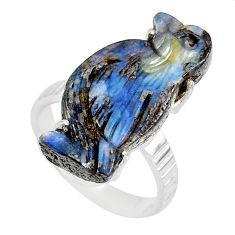 16.17cts natural boulder opal carving 925 silver solitaire ring size 7.5 r79633