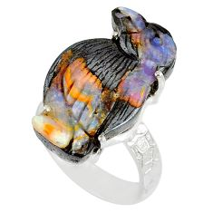18.15cts natural boulder opal carving 925 silver solitaire ring size 8.5 r79635