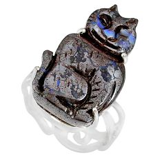 18.47cts natural boulder opal carving 925 silver solitaire ring size 7.5 r79636
