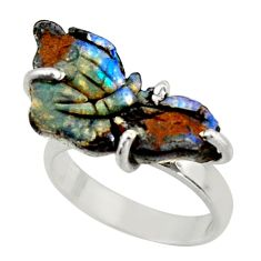 7.33cts natural boulder opal carving 925 silver solitaire ring size 6 d47428