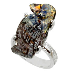 13.87cts natural boulder opal carving 925 silver solitaire ring size 6 r30155