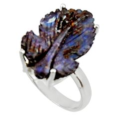 13.15cts natural boulder opal carving 925 silver solitaire ring size 7 r30128