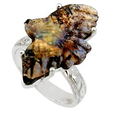 14.47cts natural boulder opal carving 925 silver solitaire ring size 7 r30131