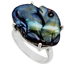 16.94cts natural boulder opal carving 925 silver solitaire ring size 7 r30132