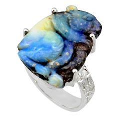 17.57cts natural boulder opal carving 925 silver solitaire ring size 7 r30137