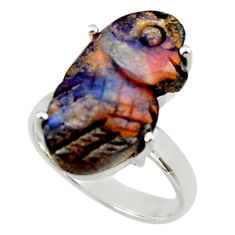 11.53cts natural boulder opal carving 925 silver solitaire ring size 7 r30165