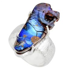 16.17cts natural boulder opal carving 925 silver solitaire ring size 7 r79630
