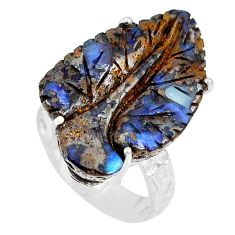 17.83cts natural boulder opal carving 925 silver solitaire ring size 7 r79638