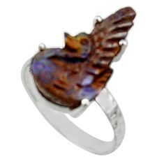8.56cts natural boulder opal carving 925 silver solitaire ring size 8 r30134