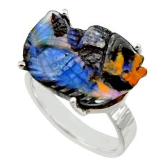 16.17cts natural boulder opal carving 925 silver solitaire ring size 8 r30141