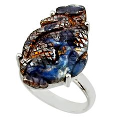 16.87cts natural boulder opal carving 925 silver solitaire ring size 8 r30146