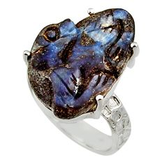 15.53cts natural boulder opal carving 925 silver solitaire ring size 8 r30149