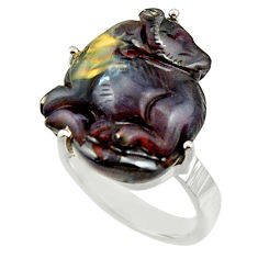 23.68cts natural boulder opal carving 925 silver solitaire ring size 8 r30174