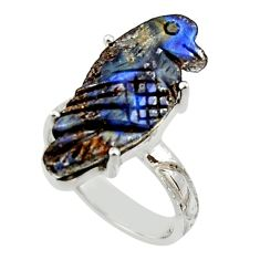13.87cts natural boulder opal carving 925 silver solitaire ring size 8 r30179