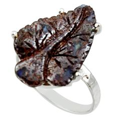 11.25cts natural boulder opal carving 925 silver solitaire ring size 8 r30180