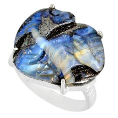 22.82cts natural boulder opal carving 925 silver solitaire ring size 8 r79606