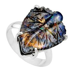 14.47cts natural boulder opal carving 925 silver solitaire ring size 8 t24207