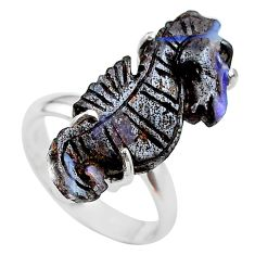 14.86cts natural boulder opal carving 925 silver solitaire ring size 8 t24218