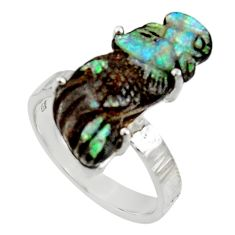 13.85cts natural boulder opal carving 925 silver solitaire ring size 9 r30136