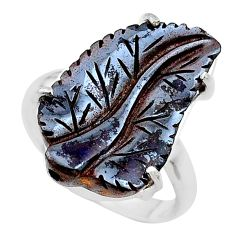 15.02cts natural boulder opal carving 925 silver solitaire ring size 9 t24206