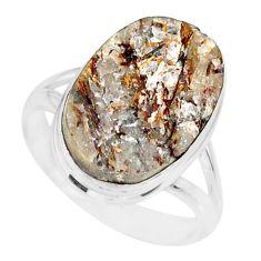 11.19cts natural bronze astrophyllite (star leaf) 925 silver ring size 9 r86078