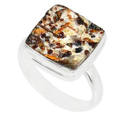 11.55cts natural bronze astrophyllite 925 silver solitaire ring size 8.5 r85910