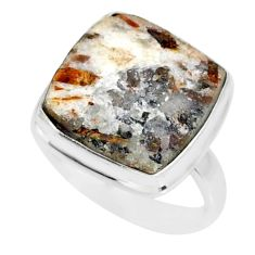 15.05cts natural bronze astrophyllite 925 silver solitaire ring size 8.5 r85926