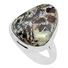 13.60cts natural bronze astrophyllite 925 silver solitaire ring size 7 r96071