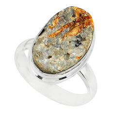 11.57cts natural bronze astrophyllite 925 silver solitaire ring size 8 r85920