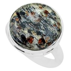 14.07cts natural bronze astrophyllite 925 silver solitaire ring size 8 r96075