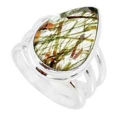 9.03cts natural bronze tourmaline rutile 925 silver solitaire ring size 6 r85246