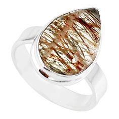 7.03cts natural bronze tourmaline rutile 925 silver solitaire ring size 7 r85244