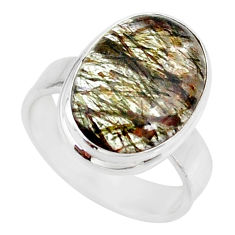 9.86cts natural bronze tourmaline rutile 925 silver solitaire ring size 7 r85283