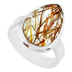 9.47cts natural bronze tourmaline rutile 925 silver solitaire ring size 7 r85293
