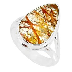 8.03cts natural bronze tourmaline rutile 925 silver solitaire ring size 7 r85301